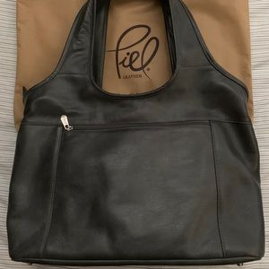 Bags - Piel Leather Laptop Hobo (Charcoal)